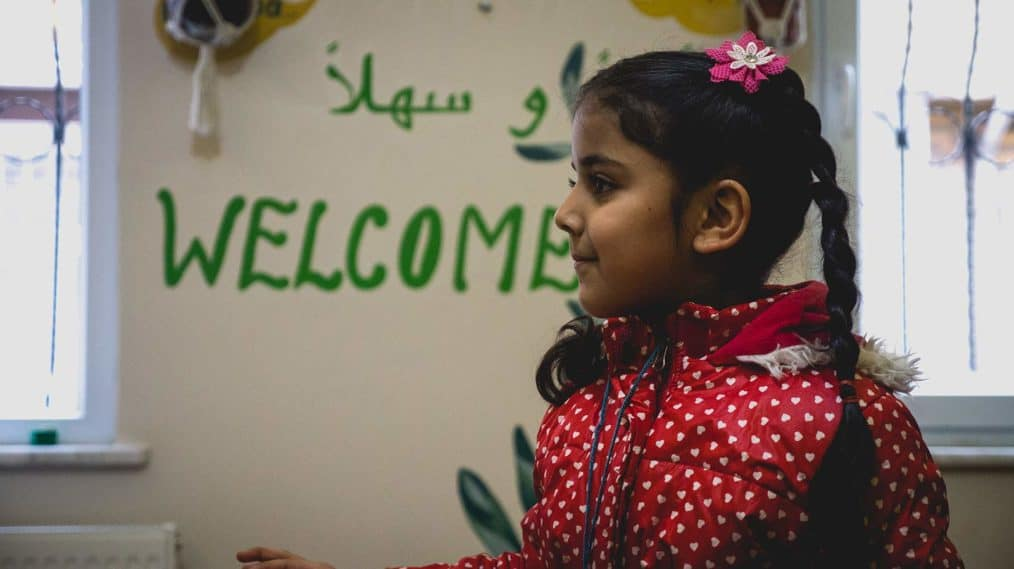 refugee girl at a community center in istanbul